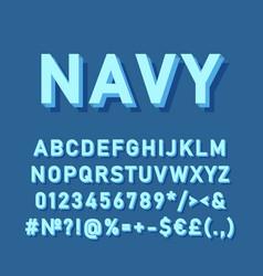 Navy vintage 3d alphabet set vector