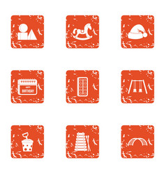 newborn infant icons set grunge style vector image