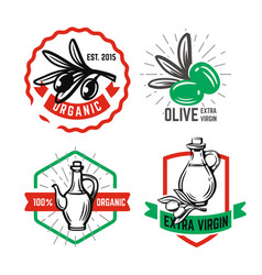olive oil emblem set with text for products vector image