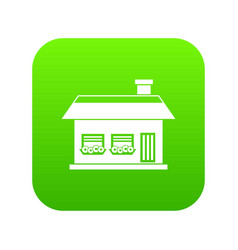 one storey house with two windows icon digital vector image