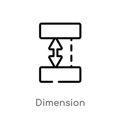outline dimension icon isolated black simple line vector image