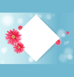 pink flower and paper greeting card vector image