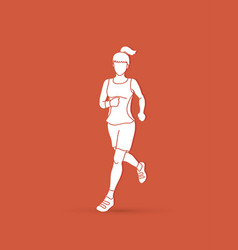 Running woman sport woman sprinter marathon vector