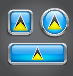 Saint Lucia flag glass buttons vector image