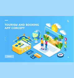screen for tourism and booking vacation concept vector image