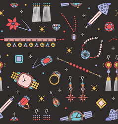 seamless pattern with stylish jewelry items on vector image