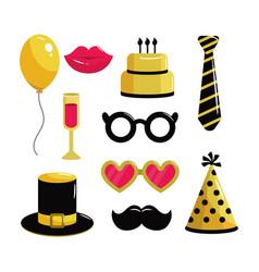 Set costume to happy birthday party vector