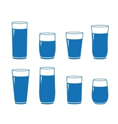 Set isolated water glass vector