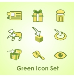 Set of nine objects on a green background vector image