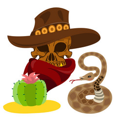 Skull in a hat cowboy wild west theme vector