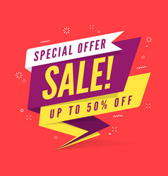 special offer sale banner template in flat style vector image