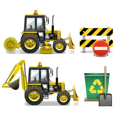 Street cleaning icons vector