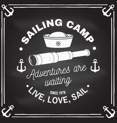 Summer sailing camp badge concept vector