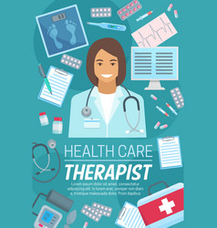 Therapist doctor on poster for therapy or medicine vector