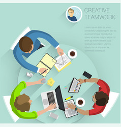 top view flat design office people vector image