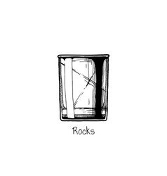 Tumbler glass rocks vector