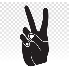 Two finger gestures sign icon for victory vector