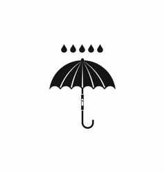 Umbrella and rain drops icon simple style vector image