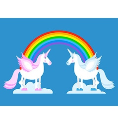 Unicorn and Rainbow Two cute fantasy creatures in vector image