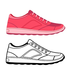 Unisex outlined template sneakers set vector image