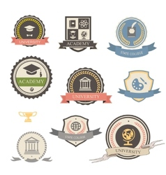 University college and academy heraldic emblems vector image