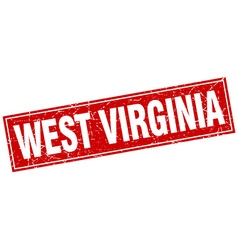 West Virginia red square grunge vintage isolated vector