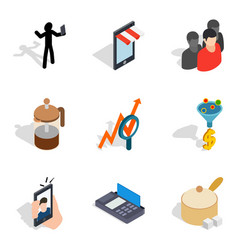 Wholesale purchase icons set isometric style vector