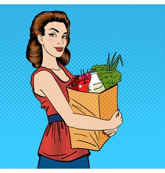 Woman with Shopping Bag Girl with Groceries vector