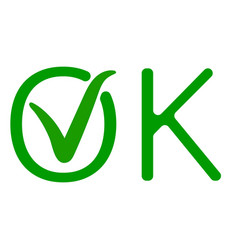 Word ok with a green checkmark of approval vector
