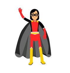young masked brunette woman in a superhero costume vector image