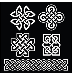 Celtic Irish patterns and braids on black vector image vector image