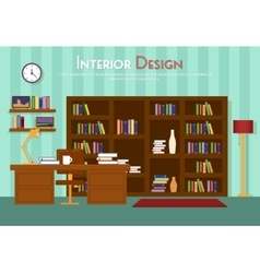 flat of room lounge with vector image