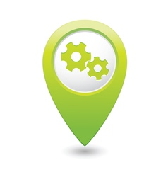 gear icon green map pointer vector image