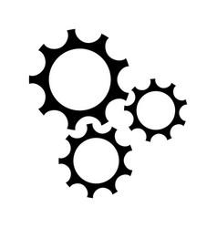 gear teamwork wheel mechanism power silhouette vector image vector image