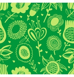Green floral seamless pattern vector image vector image