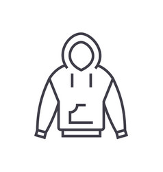 hoodie line icon sign on vector image