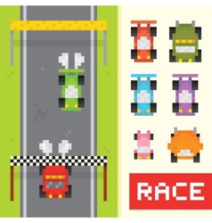 Race game objects in pixel art style vector image vector image