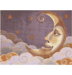 Retro style half moon clouds and stars vector image vector image