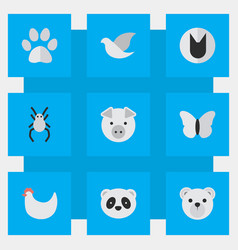 set of simple zoo icons vector image