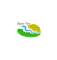 template logo for organic farm with river vector image vector image