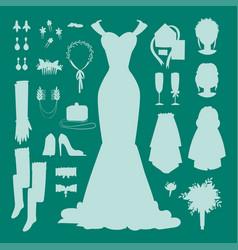 wedding bride dress accessories fashion vector image