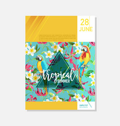 brochure template tropical flowers parrots vector image