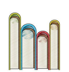 Color crayon stripe silhouette of stack of books vector
