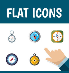 flat icon compass set of direction navigation vector image vector image