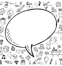 Hand drawn bubble speech with doodle objects vector