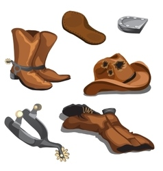 Ripped worn cowboy boots hat and spurs vector image