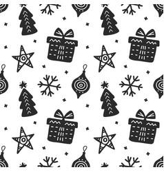 scandinavian christmas hand drawn seamless pattern vector image