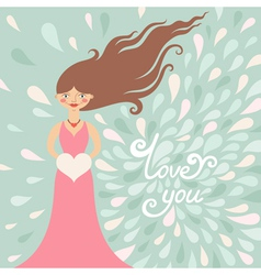 Valentine greeting card with girl vector image vector image