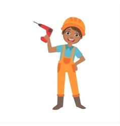 Boy Holding Electric Drill Kid Dressed As Builder vector image