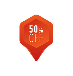 discount pointer or marker icon 50 percent sale vector image